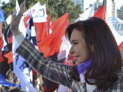 La presidenta argentina, Cristina Fernández, durante la celebración del Día de la Bandera, el viernes 20 de junio en Rosario.