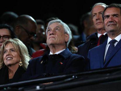 El presidente chileno, Sebastián Piñera (centro), en Lima el pasado 11 de agosto.