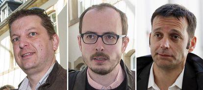De izquierda a derecha, Raphaël Halet, Antonine Deltour y Edouard Perrin.