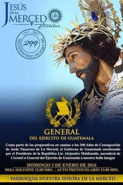 Afiche de los 300 años de la consagración de Jesús de La Merced.