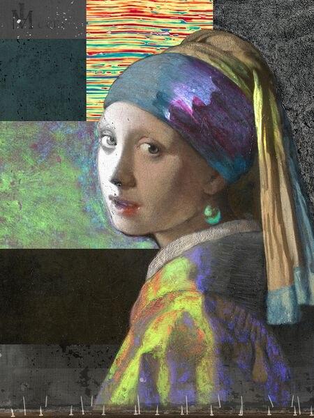 Composición de 'La joven de la perla' a partir de imágenes realizadas durante el proyecto 'Girl in the Spotlight'.