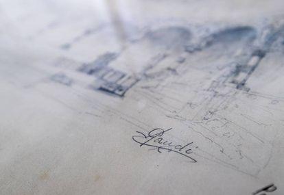 Firma de Gaudí en un proyecto.