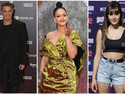 De izquierda a derecha Alejandro Sanz, Rihanna y Aitana.
