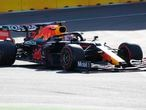 Red Bull driver Max Verstappen of the Netherlands steers his car during the qualifying session at the Baku Formula One city circuit in Baku, Azerbaijan, Saturday, June 5, 2021. The Azerbaijan Formula One Grand Prix will take place on Sunday. (AP Photo/Darko Vojinovic)
