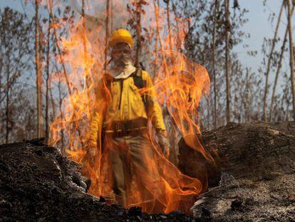 Un bombero se ve a través de las llamas de uno de los incendios en la selva amazónica del pasado agosto, cerca de Porto Velho (Brasil).