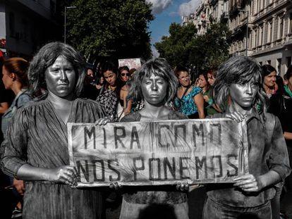 Manifestación del Día de la Mujer, el pasado 8 de marzo, en Buenos Aires.