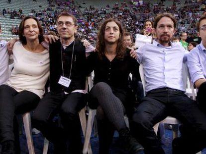 Los portavoces de Podemos Luis ALegre, Carolina Bescansa, Juan Carlos Monedero, Tania González, Pablo Iglesias e Íñigo Errejón.