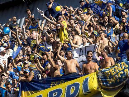 Aficionados de Boca Juniors en el último trofeo Joan Gamper, en el Camp Nou.