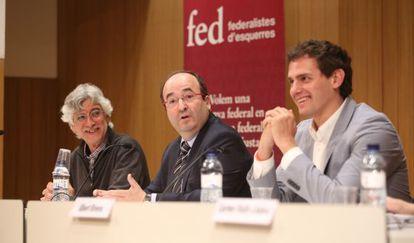 De izquierda a derecha, Albert Miralles (EUiA), Miquel Iceta (PSC) y Albert Rivera (Ciudadanos)