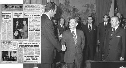 El embajador de EE UU en España, Horacio Rivero, estrecha la mano del príncipe Juan Carlos tras la firma de la Declaración de Principios hispano-norteamericana en Madrid en julio de 1974. A la derecha, portada del diario 'Mediterráneo' del 21 de diciembre de 1972 que refleja un acto protocolario de Rivero con Franco.