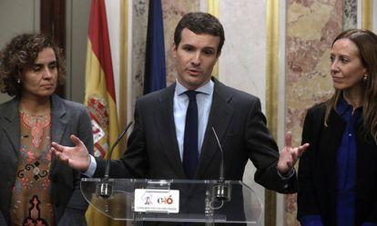 Pablo Casado, este martes en el Congreso.