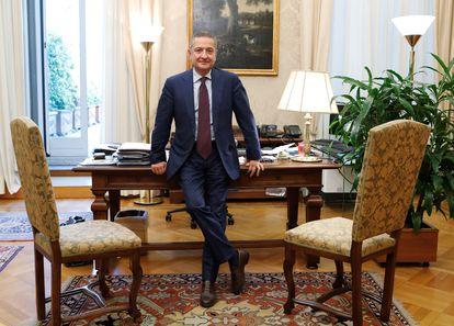 Fabio Panetta, en su despacho de Roma de subgobernador del Banco de Italia en septiembre de 2019, antes de ser elegido miembro del Comité Ejecutivo del BCE.