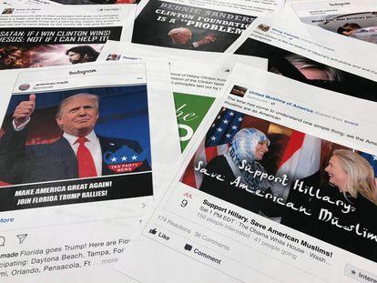 Algunas de las publicaciones de la operación rusa en Facebook e Instagram.