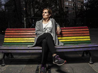 Mónica García, candidata a la Comunidad por Más Madrid, en el parque de Peñuelas de la capital.