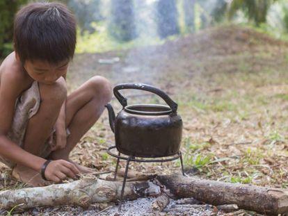 Un niño de Sumatra. región perteneciente a Indonesia.