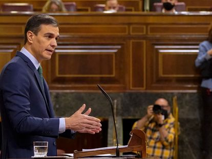 El presidente Pedro Sánchez, este miércoles en el Congreso de los Diputados.