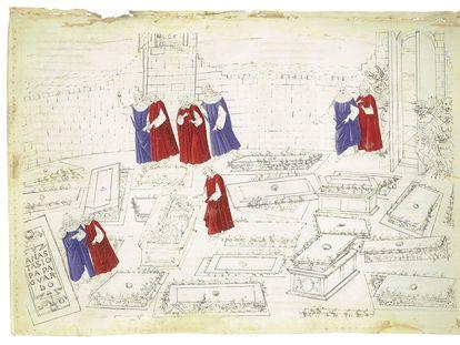 Ilustración del 'Infierno' de Botticelli para la 'Divina Comedia', de Dante Alighieri.