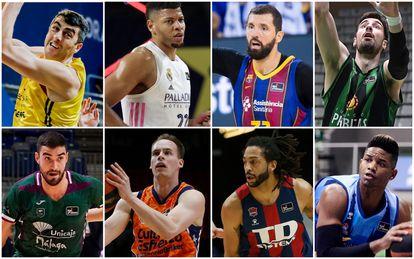 De izquierda a derecha y de arriba a abajo: Shermadini (Tenerife), Tavares (Madrid), Mirotic (Barça), Tomic (Joventut), Jaime Fernández (Unicaja), Prepelic (Valencia), Henry (Baskonia) y Rivero (Burgos). acbphoto