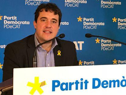 El presidente del PDeCAT, David Bonvehí, en una rueda de prensa.