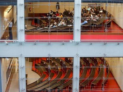 Aulas de la Universidad Pompeu Fabra (Barcelona), que ocupa el 100% de sus plazas, el pasado octubre.