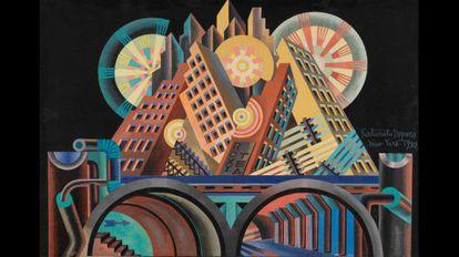 Fortunato Depero, 'Rascacielos y túneles' (Gratticieli e tunnel), 1930.
