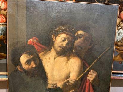 'Ecce homo' atribuido a Caravaggio, en la sala Ansorena de Madrid. Cortesía del profesor Benito Navarrete.