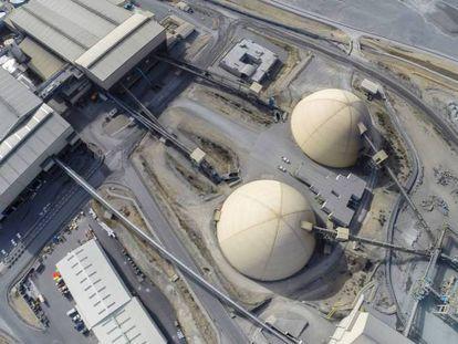 Vista aérea de la zona de procesamiento de Matsa en Huelva.