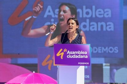 The Minister of Equality, Irene Montero, intervenes in the IV State Citizen Assembly of Podemos, on June 13 at the Parque de Lucía de Alcorcón Auditorium.