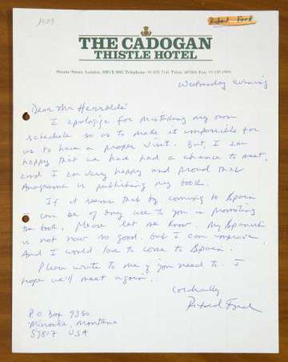 Carta de Richard Ford.