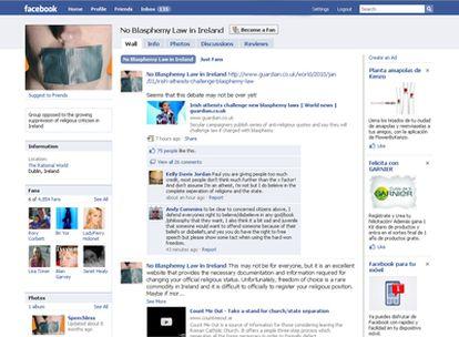 Imagen del grupo de Facebook contra la ley irlandesa que multa la blasfemia.