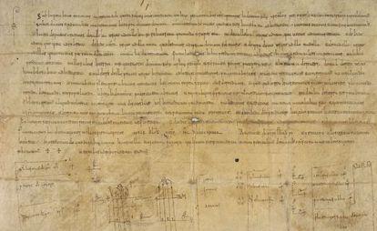 Acta notarial del año 937 por la que el conde de Castilla Fernán González donaba una propiedad al monasterio de San Pedro de Arlanza (Burgos).
