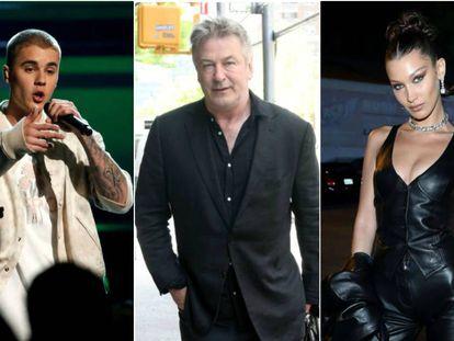 Justin Bieber, Alec Baldwin y Bella Hadid.