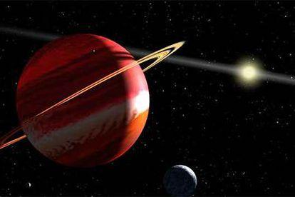 Representación del nuevo planeta, seguramente similar a Júpiter, con anillos y satélites y su estrella al fondo.