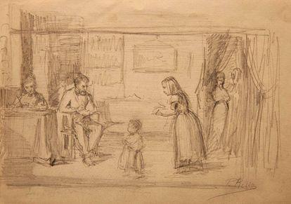 """'Familia', dibujo en lápiz de grafito atribuido a Picasso en su adolescencia, firmado """"Pablo Ruiz""""."""