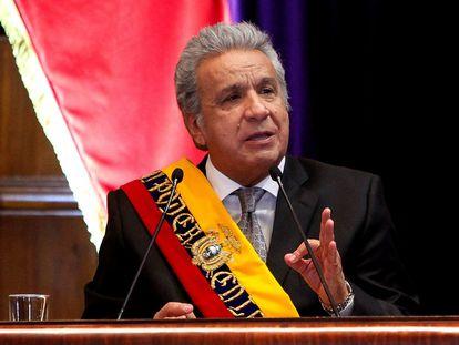 Lenin Moreno en su último informe de rendición de cuentas.