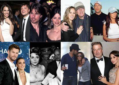 Algunas de las parejas formadas por celebridades de Hollywood y artistas españoles que repasamos en este artículo, que van desde Sara Montiel (en la fila inferior, segunda imagen) a los jóvenes Josh Hutcherson y Claudia Traisac (primera imagen en la fila superior).