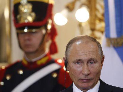 El presidente ruso, Vladímir Putin, en rueda de prensa durante el G20, el 1 de diciembre en Buenos Aires.