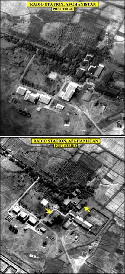UNA ESTACIÓN DE RADIO ANTES Y DESPUÉS DE LOS BOMBARDEOS SOBRE AFGANISTÁN. El Departamento de Defensa de Estados Unidos hizo públicas ayer estas dos fotos satélite sin fecha en las que se muestra una estación de radio en algún punto de Afganistán antes y después de los bombardeos. Los ataques norteamericanos tienen por objetivo destruir cualquier medio que sirva de apoyo o cobertura a la organización Al Qaeda, del saudí Osama Bin Laden, así como acabar con los medios militares del régimen talibán que da cobijo a los terroristas del grupo.