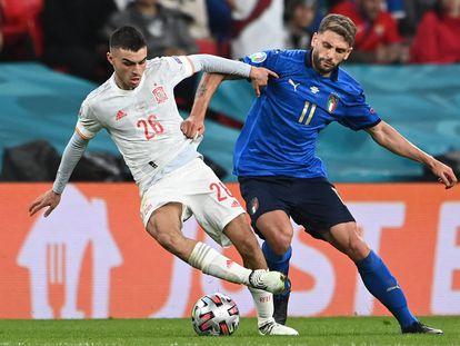 El centrocampista español Pedri en una acción de la semifinal entre España e Italia disputada el pasado 6 de julio en el estadio de Wembley en Londres.