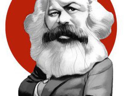 Ilustración de Marx realizada por Fernando Vicente para el libro 'El manifiesto comunista', editado por Nórdica.