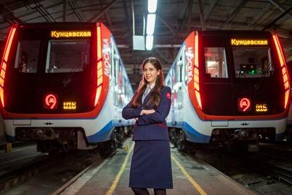María Yakovleva, maquinista del metro de Moscú.