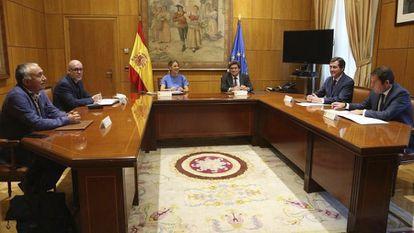 Yolanda Díaz, ministra de Trabajo, en una reunión con los agentes sociales el 25 de junio en Madrid.