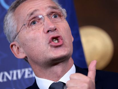 El secretario general de la OTAN, Jens Stoltenberg, pronuncia un discurso en la Universidad de Georgetown, en Washington el pasado martes.