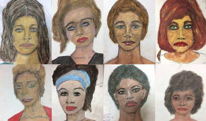 Retratos de algunas de las víctimas hechos por el propio asesino.