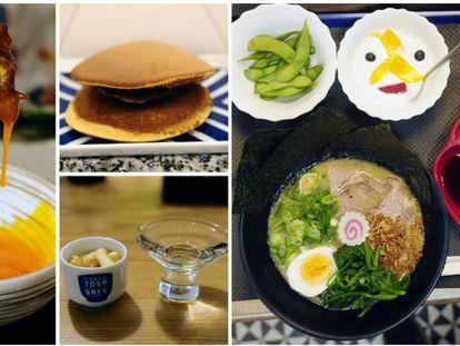 De izquierda a derecha y de arriba a abajo, picadillo de pollo casero tsukune en Tori-key. Dorayaki de judías rojas en Wagashi Utatane degustación de sake en Sake Bar y un menú de ramen completo en Ran Ran Tei.