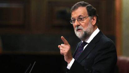 Mariano Rajoy, durante la comparecencia.