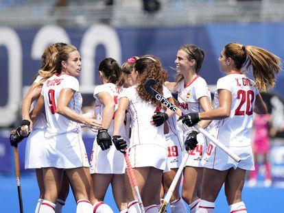 La selección española femenina de hockey hierba, en un partido en los Juegos Olímpicos de Tokyo 2020.