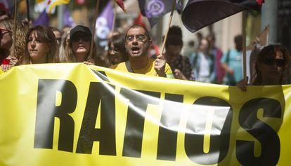 Manifestación de profesores en Barcelona la semana pasada