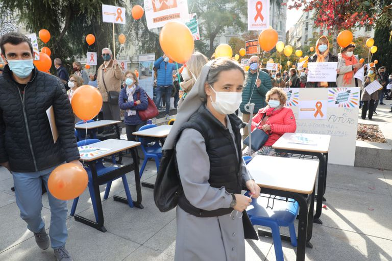 Protest of the concerted school against the new educational law, last week in Madrid.
