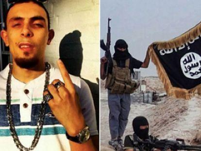 A la izquierda, Abdel Bary. A la derecha, una fotografía del grupo del ISIS al que pertenecía, según los investigadores.
